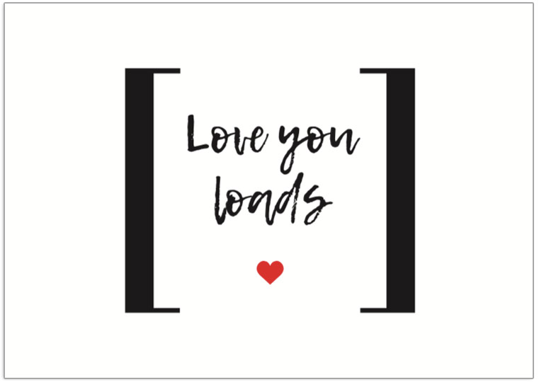 Love You Loads tag Postcard