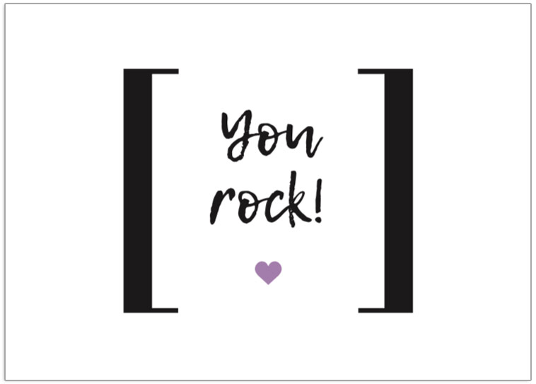 You Rock tag postcard